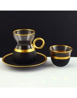 18 Pc Tea & Coffee Set with Handle in Serra Fake Gold