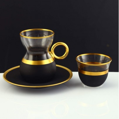 18 Pc Tea & Coffee Set with Handle in Serra Leaf Gold