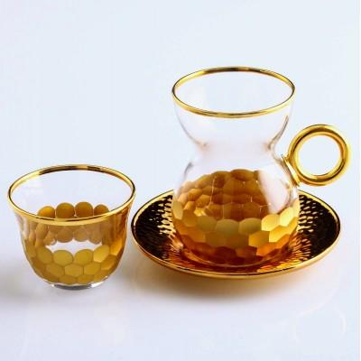 Tea Set With Handle in Petek Gold, Set of 6+6+6, 841-063