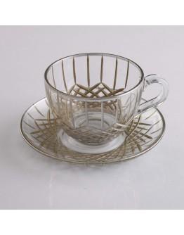 97948 Tea Set With Handle - Baklava Platinum