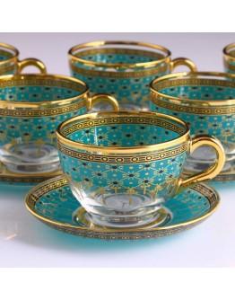 97948 Tea Set With Handle - Giray Gold - Emerald