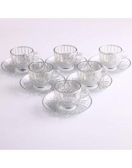 97984 Coffee Set With Handle - Baklava Platinum
