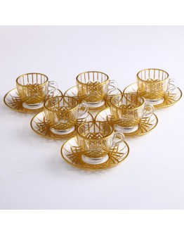 97984 Coffee Set With Handle - Baklava Gold