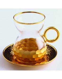Tea Set With Handle in Petek Gold, Set of 6+6, 841-063