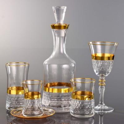 31 Pieces Glass Set - Petek Bant Gold